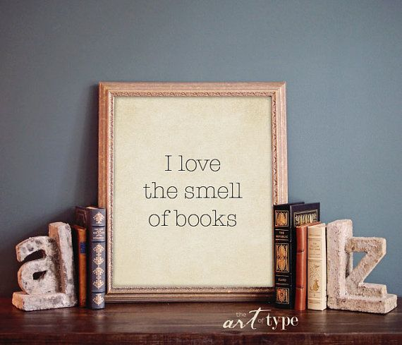 I love the smell of books. minimalist typewriter style art DIY print with vintage paper background  This series of prints would make a lovely gift for the bibliophile in your life. {And maybe its you!}  Make it a SET of FOUR 5x7 prints. Print one for you and a friend! --