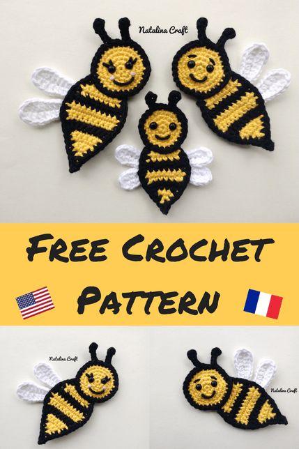 Padrão de crochê livre: Apliques - Abelha (família de abelhas!)