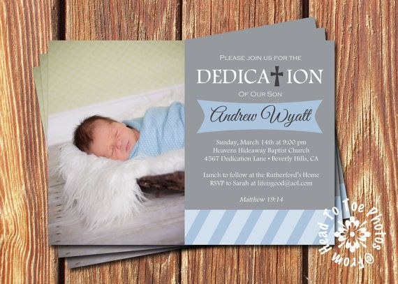 Baby Dedication Invitations •Pick two colors on Etsy, $12.00