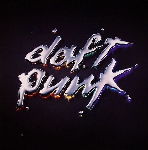 No real image or photograph, artist name featured in computer-generated graphics, mercury-effect with multicoloured tones. All Daft Punk albums follow this style of an edited 'Daft Punk'.