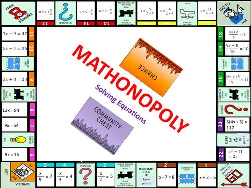 Based on Manoj Mistry (manojm03)'s excellent Mathonopoly idea, this is an adapted version I've made. The questions are designed for Year 7 students being introduced to solving equations. I&'ve also created some humerous chance and community chest cards (a...