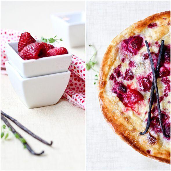 Finnish baked pancake with raspberries