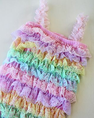 Pastel Rainbow Lace Petti Romper | Easter & Spring Baby Romper for Birthdays and Photo Sessions
