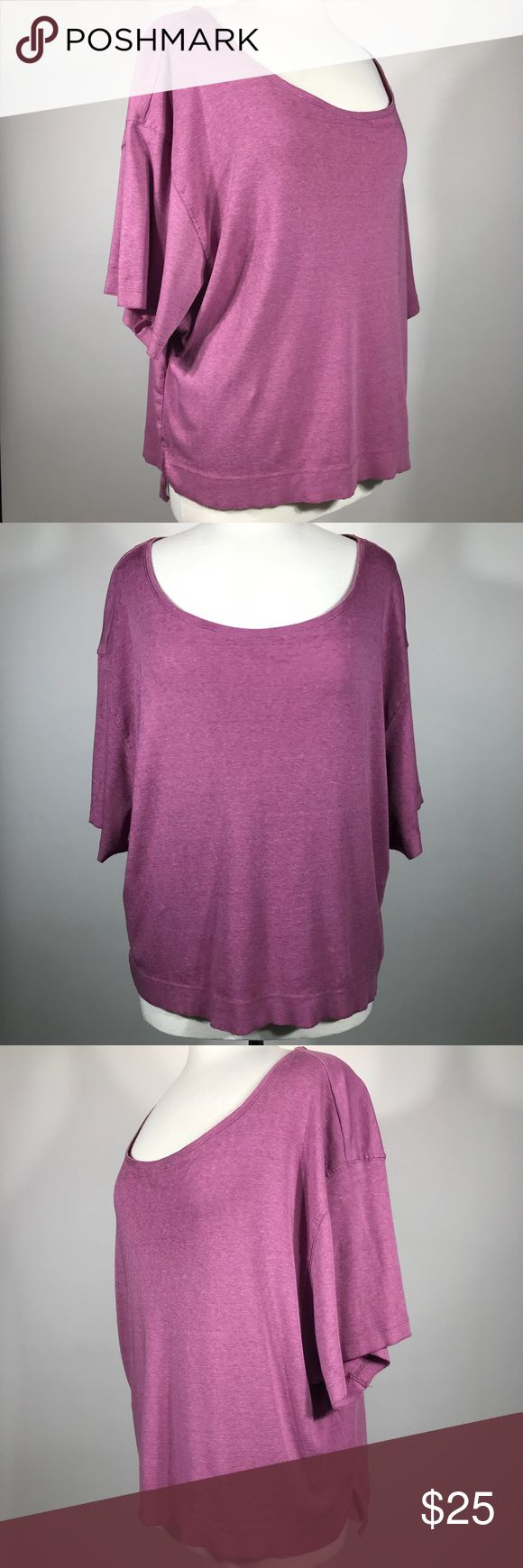 "We The Free Oversized Shirt Free People Purple Top We The Free Oversized Shirt Free People Purple Short Sleeve Crop Knit Medium  Measurements Approx (Lying Flat) 	•	Labeled: Medium 	•	Armpit to Armpit: 24.5"" 	•	Shoulder to Shoulder: 24"" 	•	Sleeve: 8.5"" 	•	Length: 25"" 