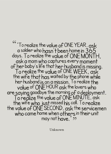 The value of time, i am not an army wife yet but i have learned the value of time from my soldier