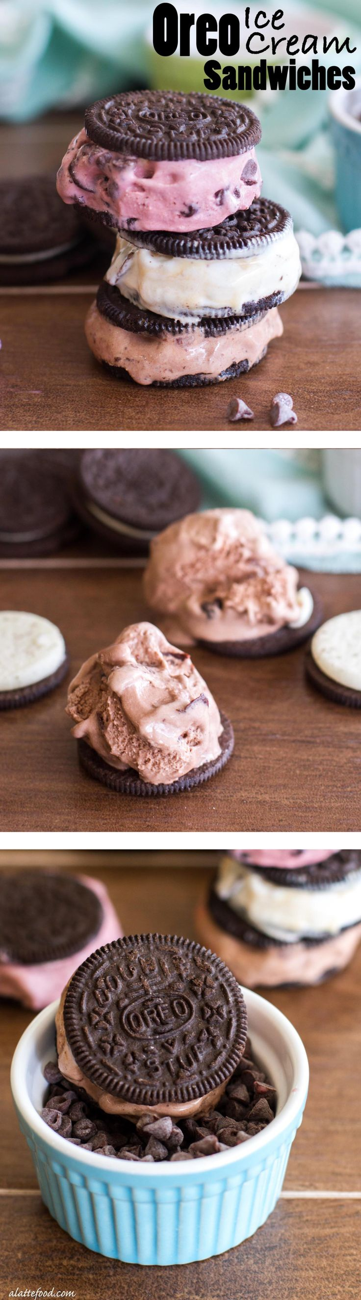 These easy Oreo ice cream sandwiches are my new favorite dessert! Scoops of ice cream stuffed in between Oreos and rolled in toppings is all it takes to get your chocolate fix!