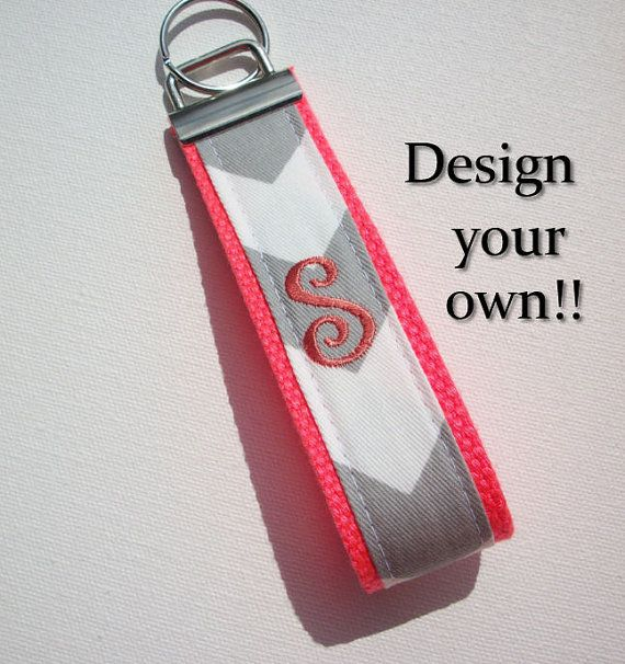 Key FOB / KeyChain / Wristlet   initial monogram on your by Laa766  preppy / fabric / cute / patterns / key chain / office, nurse, student id, badge / key leash / gifts / car key ring