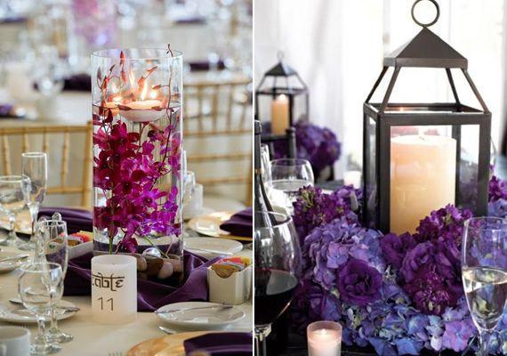 A gyertyák köré állított lila csokrok a mediterrán stílust képviselik, mintha csak egy levendulamezőre ültetnéd a násznépet.