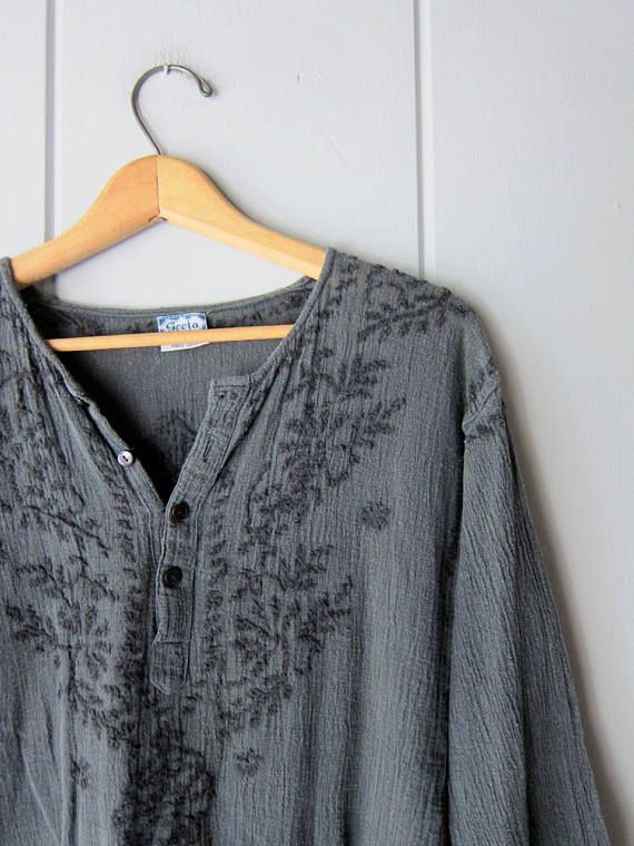 Amazing vintage cotton gauze crinkle blouse with floral embroidery. It has a loose fit with 4 buttons up the front and is a Free Size. Totally a bohemian - gypsy - festival blouse. MEASUREMENTS are taken w/ garments laying flat, across seam to seam. Please double bust, waist and