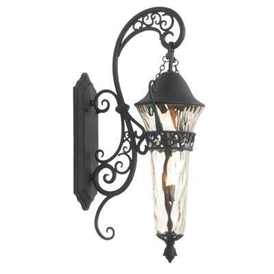 """Kalco Anastasia 2 Light Outdoor Wall Lantern Size: 37"""" H x 15"""" W x 15.75"""" D, Finish: Textured Matte Black"""