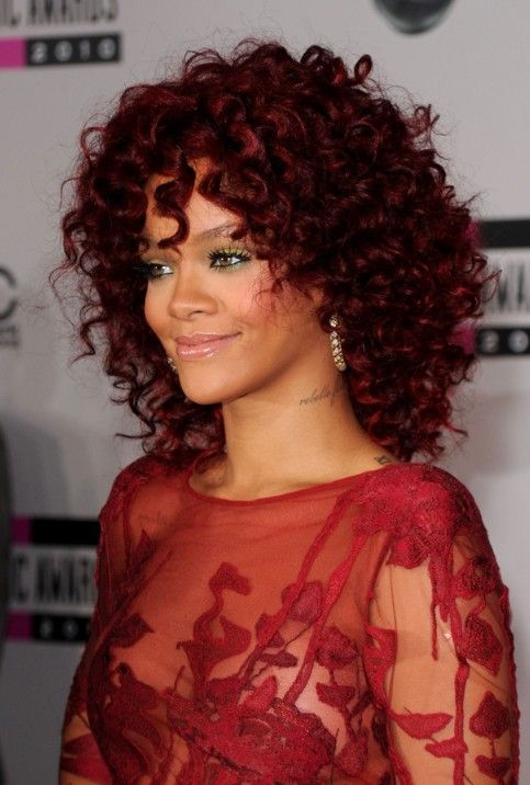 Rihanna Red Hairstyles: Medium Curly Hairstyle for African ...