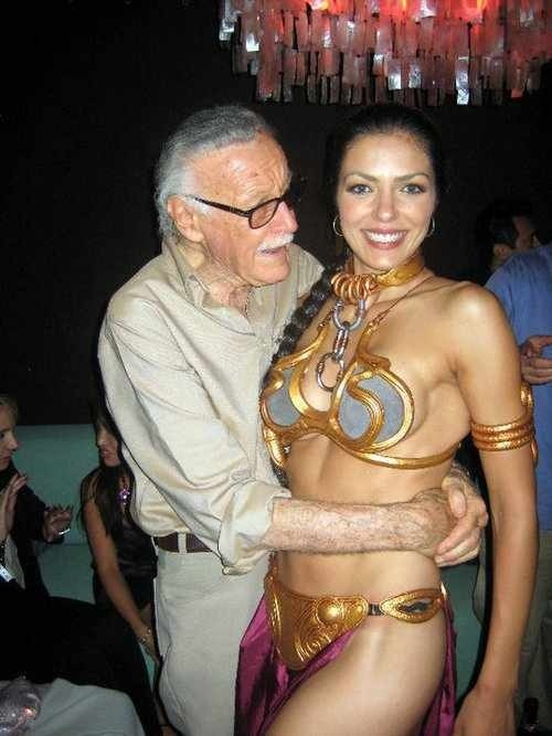 Stan Lee and Adrianne Curry.  This combines two of my favorite things -- Stan Lee and the Slave Leia costume.