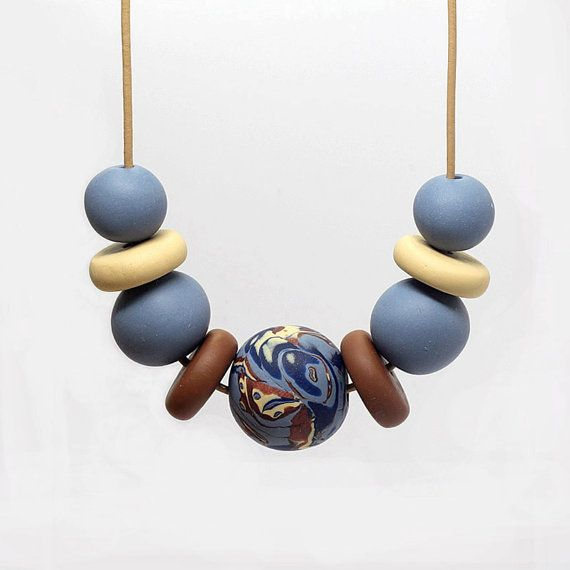 Polymer Clay and Leather Necklace Mokume-gane by ElandraDesigns