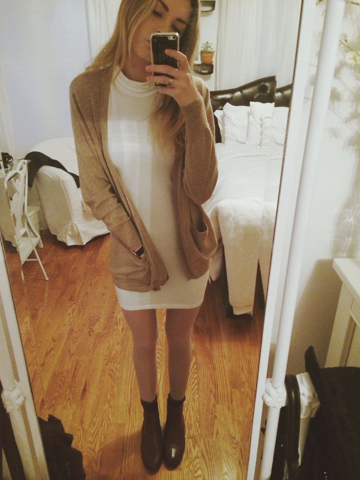 outfit today :-) tights (you can't really see), brown socks, brown topshop chelsea boots, american apparel dress, random cardigan x have a great day everyone