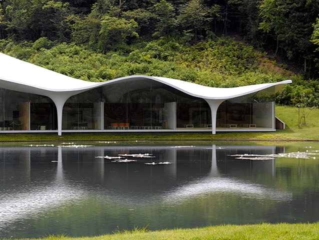 he Meiso no Mori (Forest of Meditation) Municipal Funeral Hal in Kakamigahara, Japan, is made of white concrete and glass and overlooks a small lakePhotograph: Edmund Sumner/VIEW/Corbis