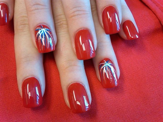 Nail art from the NAILS Magazine Nail Art Gallery, hand-painted, fireworks  fourth of july, - The 25+ Best Firework Nail Art Ideas On Pinterest Firework Nails