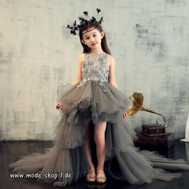 Vokuhila Madchenkleid Elegant In Bronze Braun Vorne Kurz Hinten