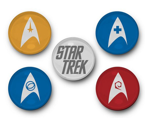 Star Trek Insignia Inspired - Set of 5 Glass Bubble Magnets - Star Trek, Piccard, Spock, Sulu, James T Kirk, Scotty, Uhura, McCoy, Chekov
