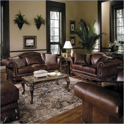 Love the Mediterranean style. This set would match my sofa now.: Living Rooms, Decor Ideas, Living Room Sets, Leather Sofas, Brown Leather, Room Ideas, Leather Living, Families Room, Home Furniture