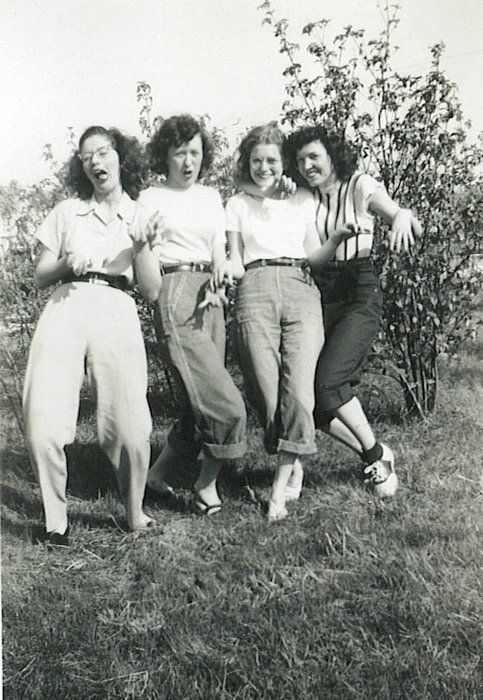 Being silly with friends 1940s style