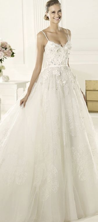 DIONE - Pronovias - LOVE this - the flower detailing is gorgeous