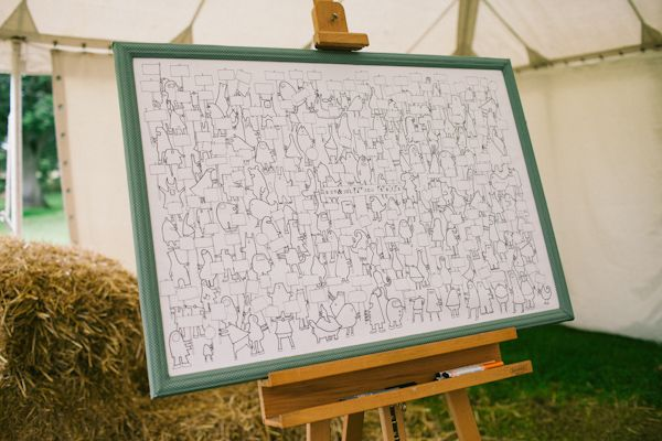 Countryside Kent Wedding // Available at World of Moose -- Guests can color in the characters of the poster and fill in their signs with messages