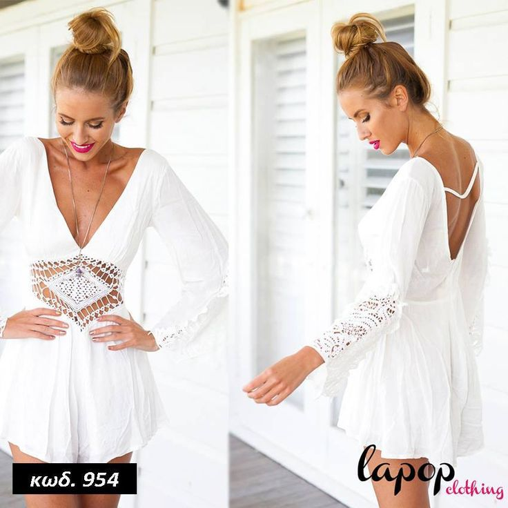 Κωδικός AD954, Υλικό Cotton Blend, Χρώμα Λευκό, White Color, Long Sleeve Playsuit, Ολόσωμη Φόρμα, Deep V-Neck Romper, Backless Jumpsuit, Lace Desighn, Σχέδιο Δανέλα, Trend, Spring Summer Outfit, Total Look
