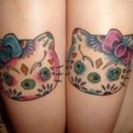 Cute Kitty Tattoos on Leg