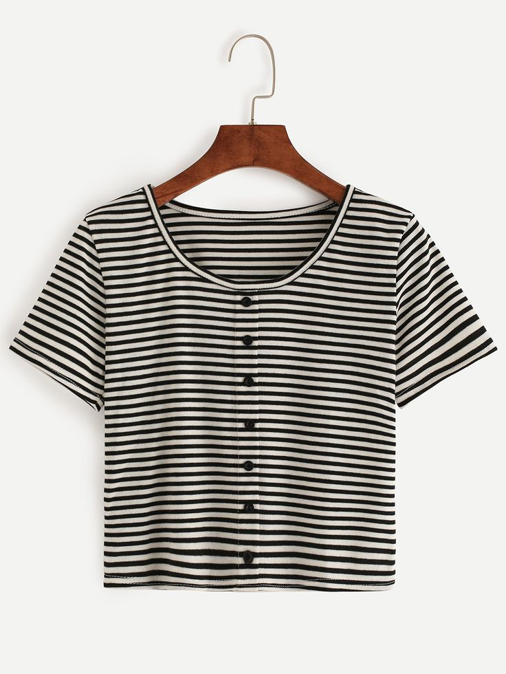 Buy Black White Striped T-shirt With Buttons from abaday.com, FREE shipping Worldwide - Fashion Clothing, Latest Street Fashion At Abaday.com