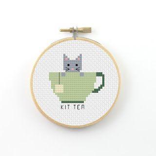 Ringcat: Tea pun animal cross stitch patterns