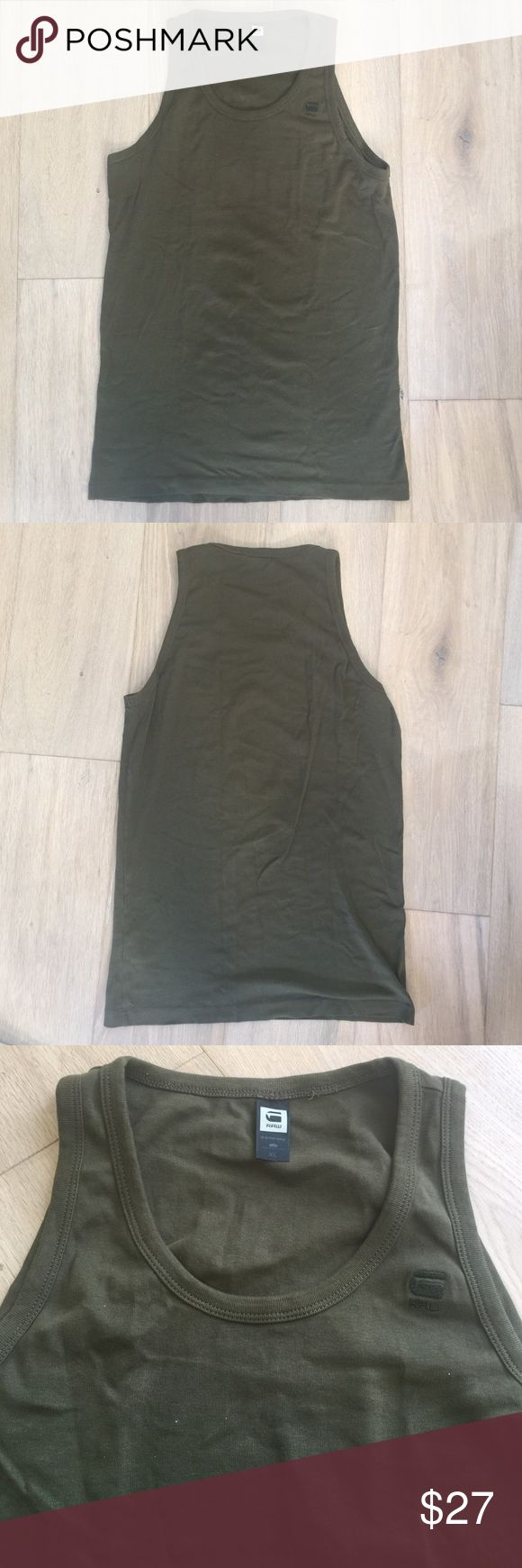 Men's G-STAR RAW Tank Top Excellent used condition! Men's G-Star RAW Tank Top in olive. Size is XL but fits small G-Star Shirts Tank Tops