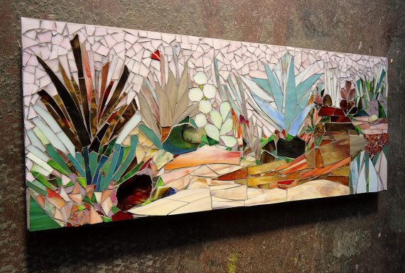 Succulent CACTUS GARDEN MOSAIC stained glass by ParadiseMosaics