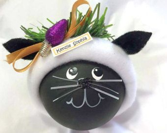 Chat gris Kitty Noël ornements poisson OS par TownsendCustomGifts
