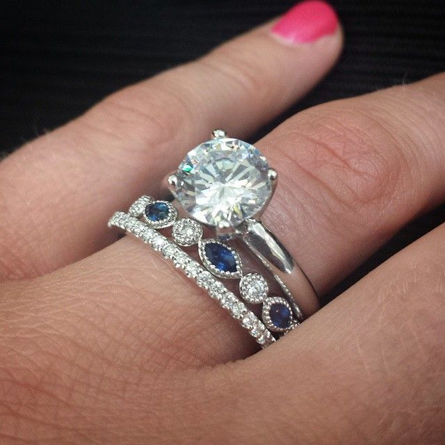 Antique Diamond and Blue Sapphire Wedding Band looks amazing between a Pave Diamond Wedding Band and Solitaire Engagement Ring with Round Brilliant Diamond! #ido