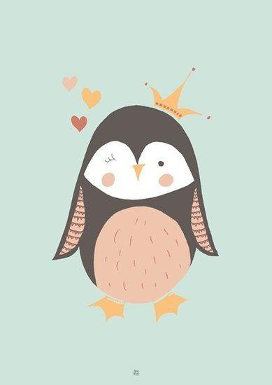 Poster Pinguin, Blauw groen leuke kinderkamer poster