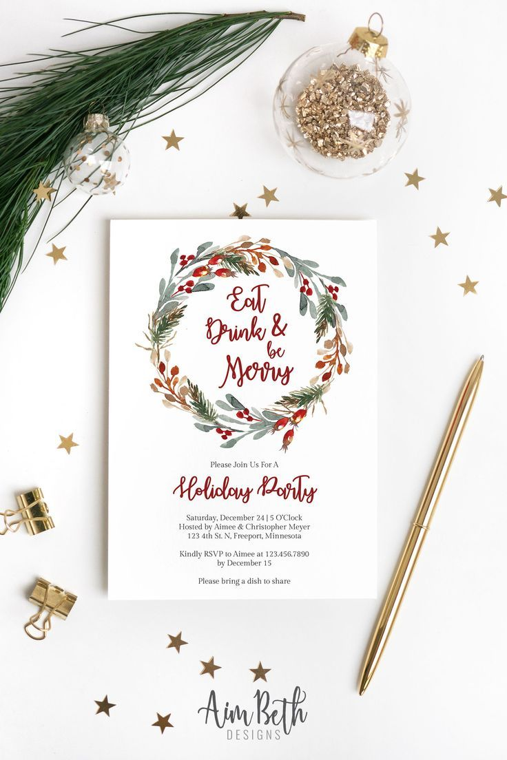 Eat Drink And Be Merry Christmas Party Invitation Template Etsy Holiday Party Invitation Template Party Invite Template Christmas Party Invitation Template