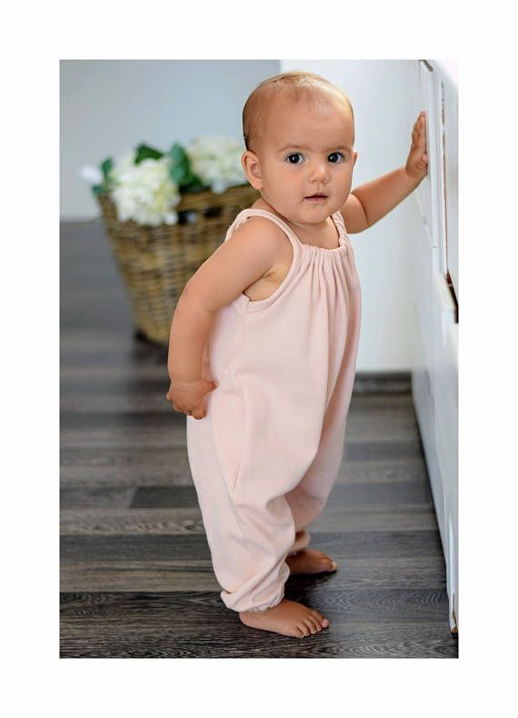 Organic Peach Pink Girls Summer Playsuit | Baby Girl Bubble Romper | Toddler Flowy Jumpsuit | Organic girls clothes | Girls outfit|Boho kids