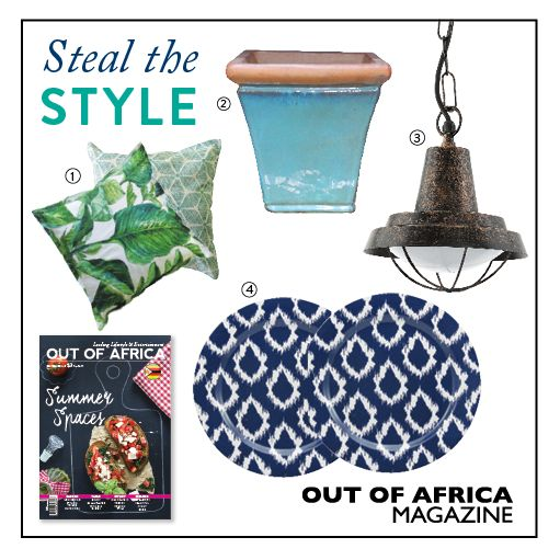 Get Shopping with OUT OF AFRICA: SEPTEMBER Issue OUT NOW!  Enjoy your time outdoors this summer with this collection of colourful accesories. 1. CUSHIONS $30 spruce up your outdoor furniture with these colourful cushions. Available at Dusk Home. 2. CERAMIC POT PLANT from $17.46 a stunning pot plant that will add a pop of colour. Available in 3 sizes. Available at Halsted Builders Express Garden Centre. 3.COLINDRES OUTDOOR PENDANT LIGHT $79 a unique fitting sure to bring an industrial touch…