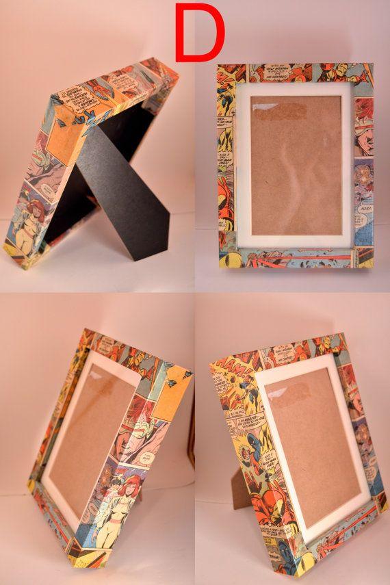 Decoupaged Marvel Comic Frame by LunarFoxStudios on Etsy