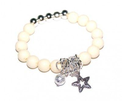 Bransoletka z Koralików Ecru z Gwiazdką II #bracelet #bransoletka