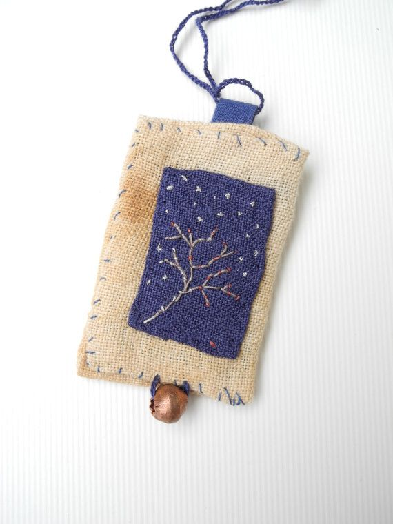 Embroidered tree necklace - Cotton crochet thread, blue of course. 36 cms/14.17 inches The rectangle, both pieces are linen, the brown one is hand dyed - 5.5/ 2.16 inches  - by giovabrusa