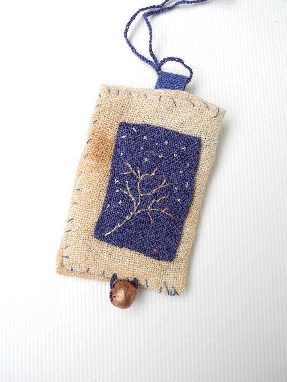 Embroidered tree necklace, fiber art jewelry, ooak, textile necklace, indigo