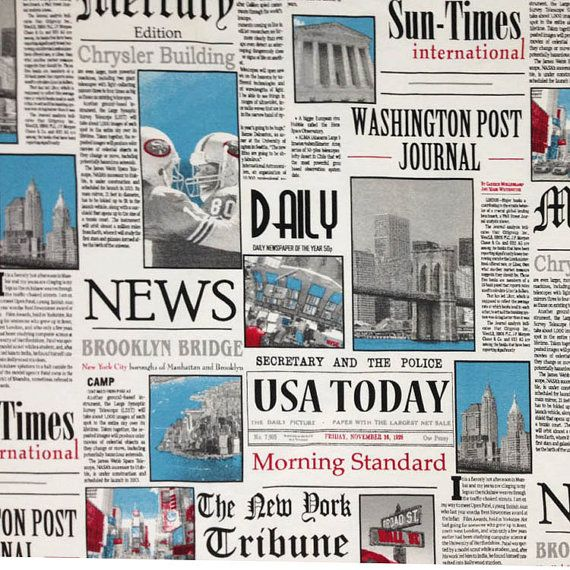New York Times Newspaper News Article PRINT by TheFabricShopUK, £13.99