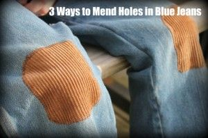 Here are three easy ways to mend holes in blue jeans that don't require you to be an expert seamstress. Extending the life of a pair of blue jeans is a great way to save money on clothes.