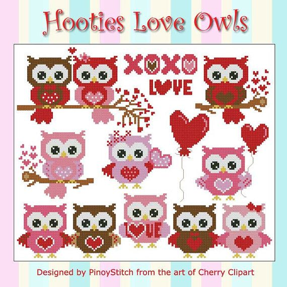Hootie Love Owls  Mini Collection Cross Stitch PDF by PinoyStitch, $7.50