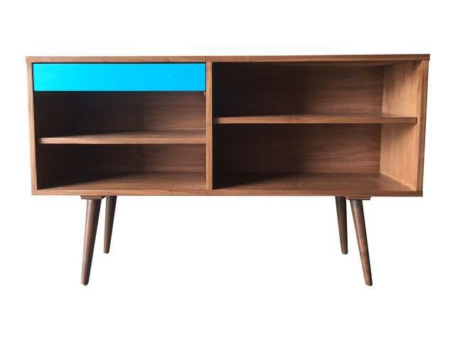 Mid-Century Style Custom Credenza With Teal Drawer on Chairish.com