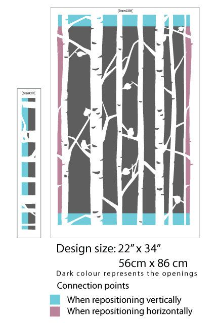 Birch Tree Wall Stencil Decorative Scandinavian Large Wall Stencil DIY Decorative Wallpaper Look Easy Home or Office Decor - Thumbnail 2