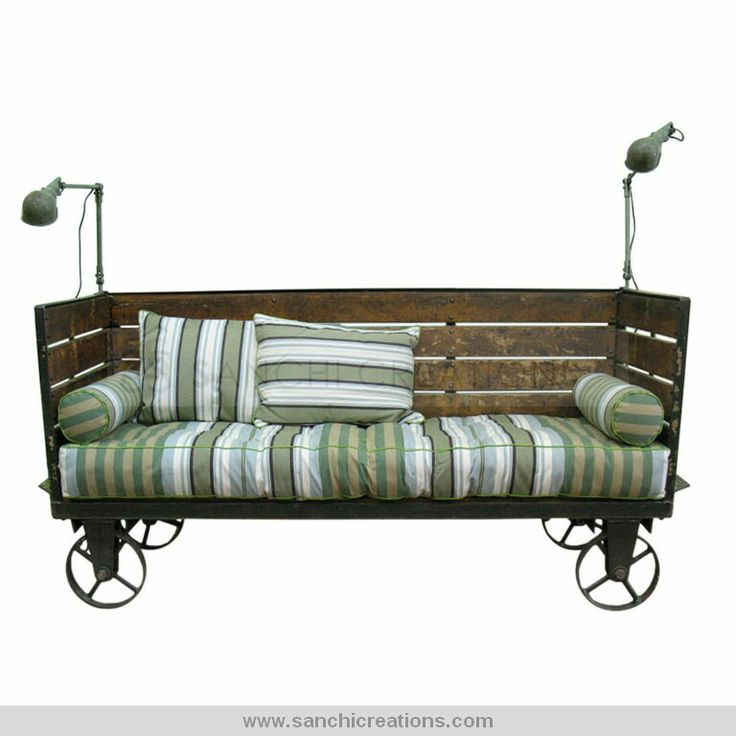 Industrial Wooden Iron Sofa With Wheels  Relax in gentle motion with the Better Homes and Gardens Outdoor Patio Glider. This Outdoor Furniture Glider is a beautiful addition to any yard space and features a style that is sure to match any existing decor. The Better Homes and Gardens Outdoor Patio Glider can comfortably seat two people at a time and includes a cushion and two matching pillows.  http://www.sanchicreations.com/