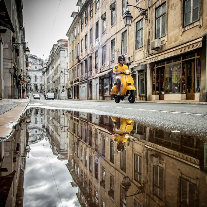 Beautifully reflective puddle photographs that capture Lisbon in perfect symmetry - via Creative Boom 11.02.2015 | From architecture and city streets to archways and interesting corners, there's always something that will inspire the symmetry-obsessed creative. That's what photographer Daniel Antunes loves to do, but he cleverly captures glimpses of a world in perfect symmetry through the puddles of water that he discovers on his travels.