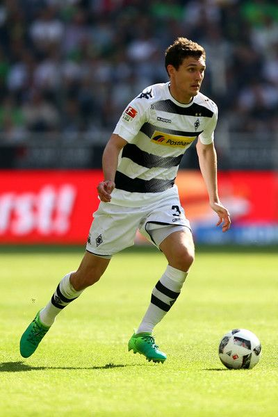 Andreas Christensen of Moenchengladbach runs with the ball during the Bundesliga match between Borussia Moenchengladbach and FC Augsburg at Borussia-Park on May 6, 2017 in Moenchengladbach, Germany.